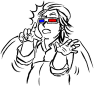 A black and white drawing of the author, Elk, wearing 3D glasses that glow in red and blue. His mouth hangs open, his hands shooting up in surprise to protect his face.